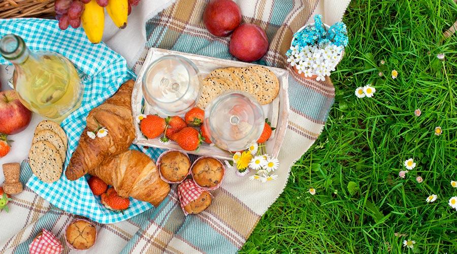 Romantisches Picknick Essen / Schone Junge Paare Die